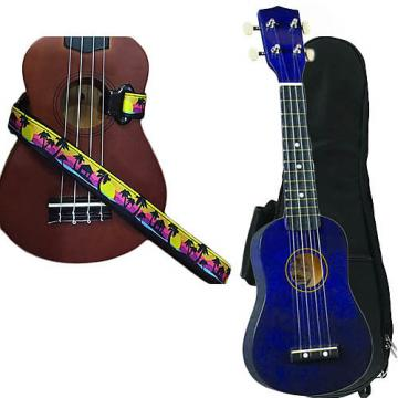 Custom Purple Soprano Ukulele Pack w/Masterstraps Palm Trees Strap