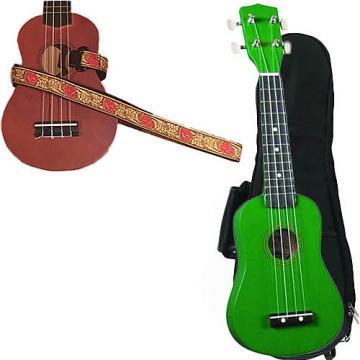 Custom Green Soprano Ukulele Pack w/Masterstraps Desert Rose Red Strap
