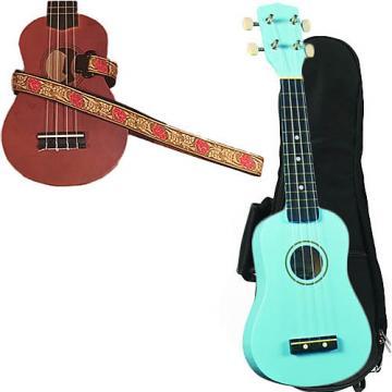 Custom Baby Blue Soprano Ukulele Pack w/Masterstraps Desert Rose Red Strap