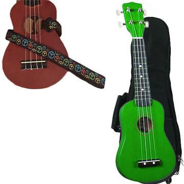 Custom Green Soprano Ukulele Pack w/Masterstraps Peace Sign Neon Strap