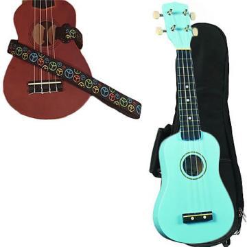 Custom Baby Blue Soprano Ukulele Pack w/Masterstraps Peace Sign Neon Strap