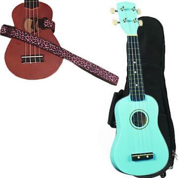 Custom Baby Blue Soprano Ukulele Pack w/Masterstraps Pink Leopard Strap