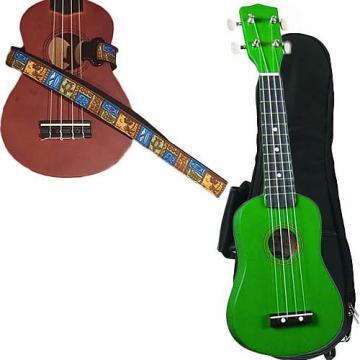 Custom Green Soprano Ukulele Pack w/Masterstraps Tiki Hawaiian Strap