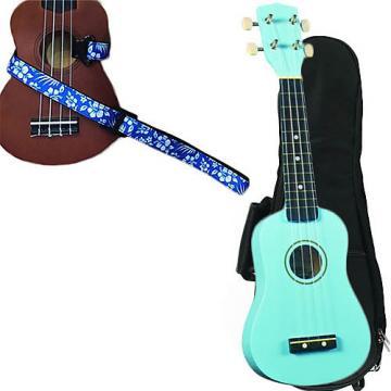 Custom Baby Blue Soprano Ukulele Pack w/Masterstraps Hawaiian Flower Blue Strap