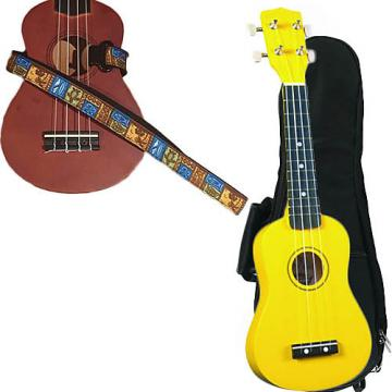 Custom Yellow Soprano Ukulele Pack w/Masterstraps Tiki Hawaiian Strap