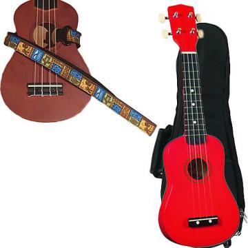 Custom Red Soprano Ukulele Pack w/Masterstraps Tiki Hawaiian Strap