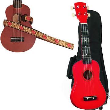 Custom Red Soprano Ukulele Pack w/Masterstraps Desert Rose Red Strap