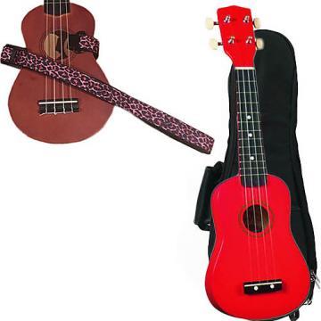 Custom Red Soprano Ukulele Pack w/Masterstraps Pink Leopard Strap