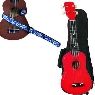Custom Red Soprano Ukulele Pack w/Masterstraps Hawaiian Flower Blue Strap