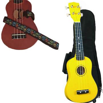 Custom Yellow Soprano Ukulele Pack w/Masterstraps Peace Sign Neon Strap