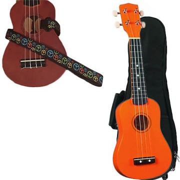 Custom Orange Soprano Ukulele Pack w/Masterstraps Peace Sign Neon Strap