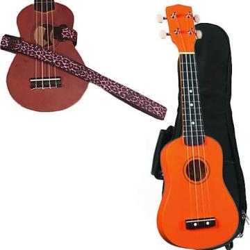 Custom Orange Soprano Ukulele Pack w/Masterstraps Pink Leopard Strap