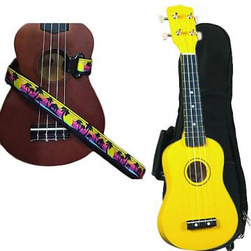 Custom Yellow Soprano Ukulele Pack w/Masterstraps Palm Trees Strap