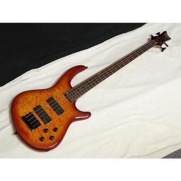 Custom DEAN Edge Q4 Quilt Maple 4-string BASS guitar Trans Amber - EMG HZ Pickups