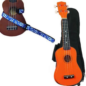 Custom Orange Soprano Ukulele Pack w/Masterstraps Hawaiian Flower Blue Strap