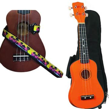 Custom Orange Soprano Ukulele Pack w/Masterstraps Palm Trees Strap