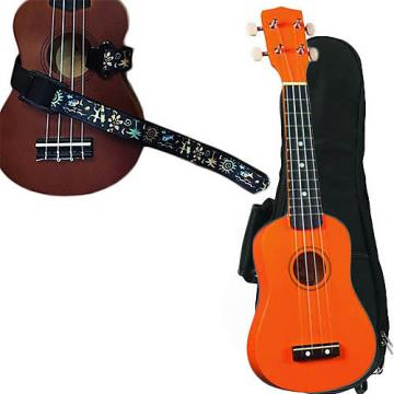 Custom Orange Soprano Ukulele Pack w/Masterstraps Hawaiian Surfer Strap