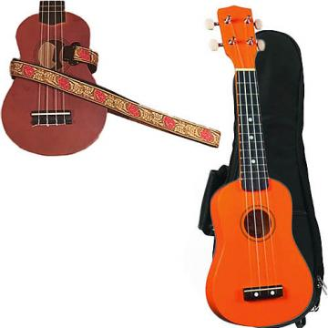 Custom Orange Soprano Ukulele Pack w/Masterstraps Desert Rose Red Strap