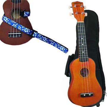 Custom Brown Soprano Ukulele Pack w/Masterstraps Hawaiian Flower Blue Strap
