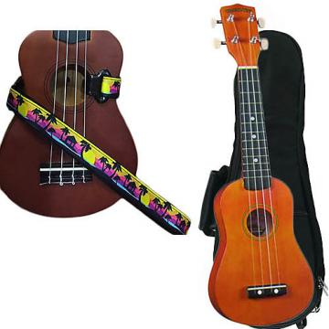 Custom Brown Soprano Ukulele Pack w/Masterstraps Palm Trees Strap