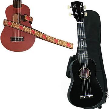 Custom Black Soprano Ukulele Pack w/Masterstraps Desert Rose Red Strap