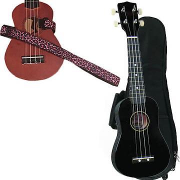 Custom Black Soprano Ukulele Pack w/Masterstraps Pink Leopard Strap