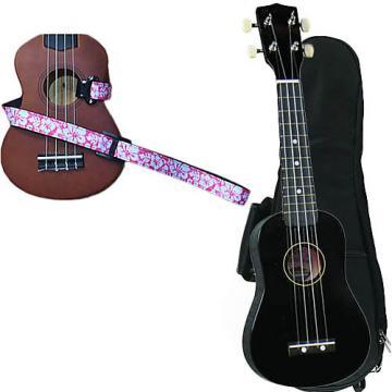 Custom Black Soprano Ukulele Pack w/Masterstraps Hawaiian Flower Pink Strap