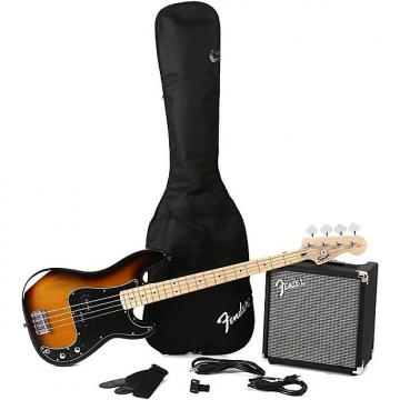 Custom Squier Precision Bass Pack with Rumble 15 Amplifier - Brown Sunburst