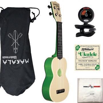 Custom Kala Makala Waterman Soprano Ukulele Green Bundle + Bag + Tuner + Strings +Cloth