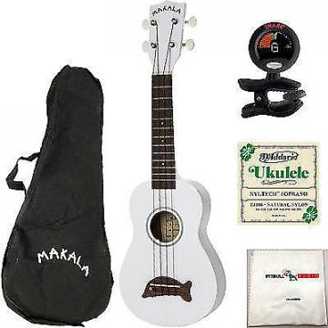 Custom Kala Makala Dolphin Ukulele Pearl White Bundle + Bag + Tuner +Strings +Cloth