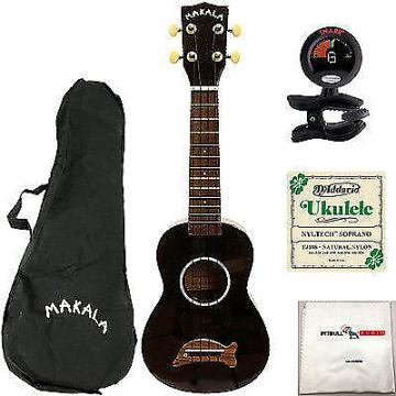 Custom Kala Makala Dolphin Ukulele Uke Black Bundle + Bag + Tuner + Strings + Cloth