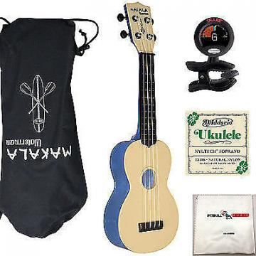 Custom Kala Makala Waterman Soprano Ukulele Blue Bundle + Bag + Tuner + Strings +Cloth