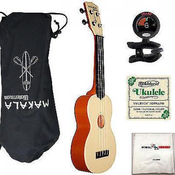 Custom Kala Makala Waterman Soprano Ukulele Orange Bundle + Bag +Tuner + Strings +Cloth