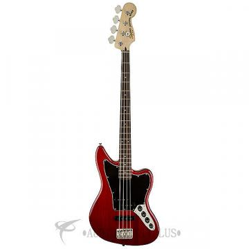 Custom Fender Squier Vintage Modified Jaguar Rosewood FB Electric Bass Crimson Red Transparent - 0328900538