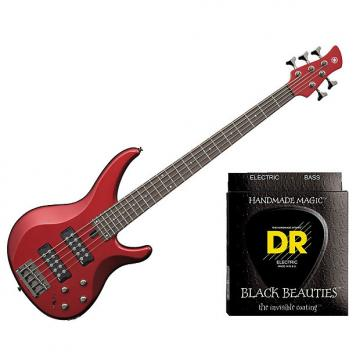 Custom Yamaha TRBX305 5 String Electric Bass Candy Apple Red w/Set DR Strings BKB5-45