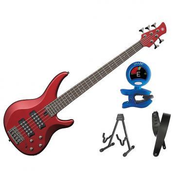 Custom Yamaha TRBX305 5 String Electric Bass Candy Apple Red Bonus Kit