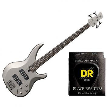 Custom Yamaha TRBX304 Electric Bass Pewter w/Set DR Strings BKB-45