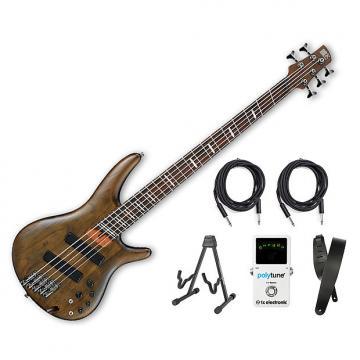 Custom Ibanez SRFF805 5-String Multi-Scale - Walnut Flat Bonus Kit