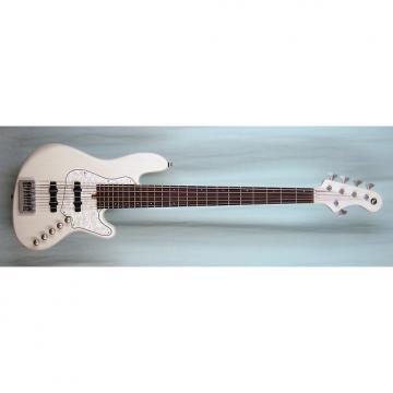 Custom Elrick Expat Handmade New Jazz Standard 5-String Bass Guitar, Mary Kay White Finish, Rosewood Fb.