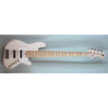 Custom Elrick Expat Handmade New Jazz Standard 5-String Bass Guitar, Mary Kay White Finish, Maple Fb.