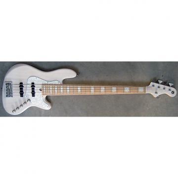 Custom Elrick Expat Handmade New Jazz Standard 5-String Bass Guitar, Trans White Finish, Maple Fingerboard