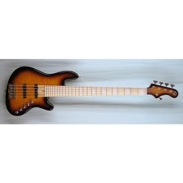 Custom Elrick Expat Handmade New Jazz Standard 5-String Bass Guitar, Tobacco Sunburst Finish/Quilt Mpl. Top