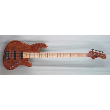 Custom Elrick Expat Handmade New Jazz Standard 4-String Bass Guitar, Clear Gloss Finish/Burl Maple Top