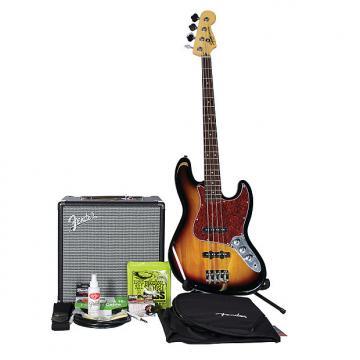 Custom Squier Vintage Modified Jazz Bass 4 BadAxe Bundle 3-Tone Burst w/Fender Rumble 25 Amplifier