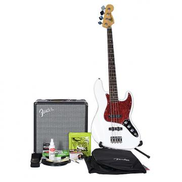 Custom Squier Vintage Modified Jazz Bass 4 BadAxe Bundle Olympic White w/Fender Rumble 25 Amplifier