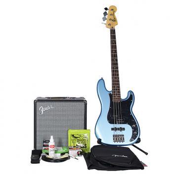 Custom Squier Vintage Modified Precision PJ Bass 4 BadAxe Bundle Lake Placid Blue w/Rumble 25 Amp