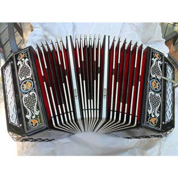 Custom Crown Concertina Chemnitzer Crown Italy Squeezebox Black Pearl Tone B Flat Red Bellows PEARL BLACK