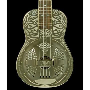 Custom New! Luna Guitars Tiki Resonator Concert Ukulele - Chrome