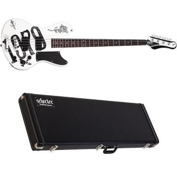 Custom Schecter Simon Gallup Ultra Spitfire Gloss White with Graphic Bass with Hardshell Case