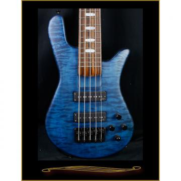 Custom Spector NS-5H2W Transparent Blue and Black Satin